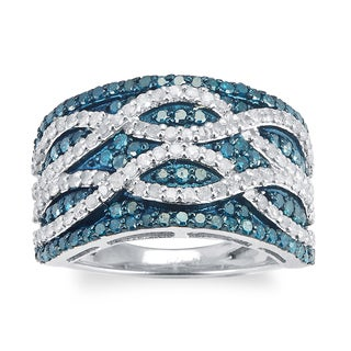 Sterling Silver 1 1/2ct TDW Blue and White Diamond Multi Row Ring (H-I, I2-I3)