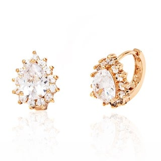 Peermont Jewelry 18k Goldplated Gold and Clear Crystal Teardrop Earrings
