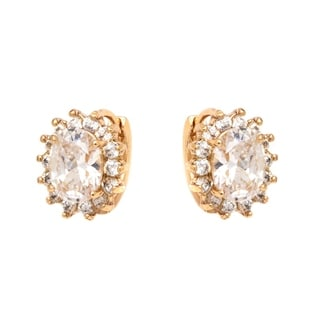 18k Goldplated Gold and Clear Crystal Spike Flower Earrings