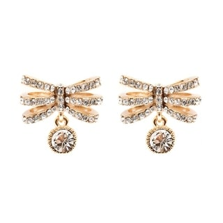 Peermont Jewelry 18k Goldplated Gold and White Austrian Crystal Dragonfly Earrings