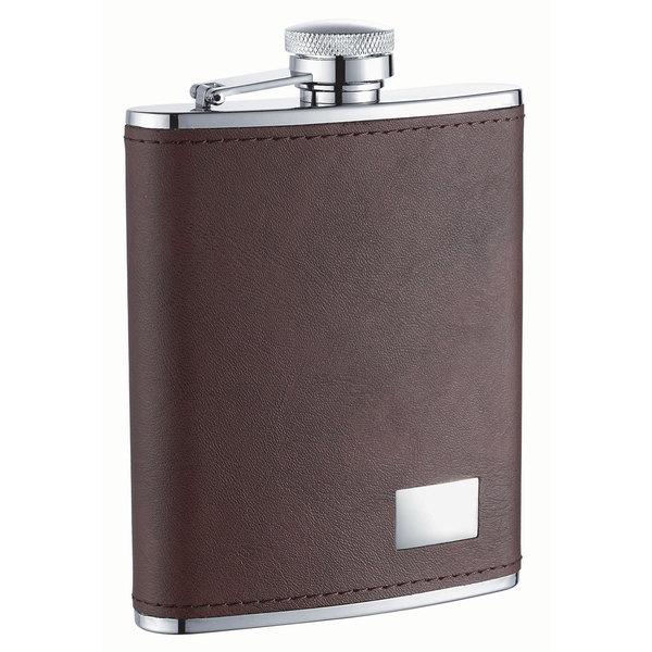 Visol Hunter Dark Brown Leather Liquor Flask - 6 ounces
