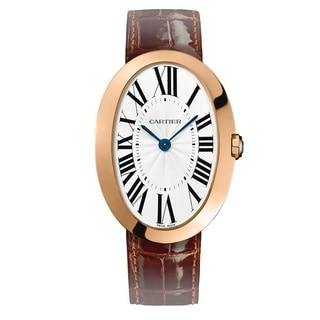 Cartier Women's W8000002 'Baignoire' Manual Wind 18kt Rose Gold Brown Leather Watch