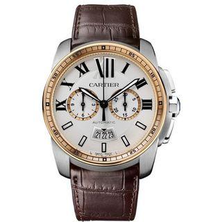 Cartier Men's W7100043 'Calibre de Cartier' 18kt Pink Gold Chronograph Automatic Brown Leather Watch
