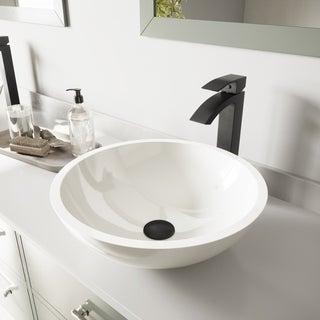 VIGO Flat Edged White Phoenix Stone Vessel Sink and Duris Faucet Set in Matte Black Finish