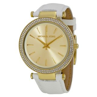 Michael Kors Women's MK2391 'Darci' Crystal White Leather Watch