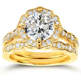 Annello 14k Yellow Gold Round-cut Moissanite and 2/5ct TDW Diamond Floral Antique Bridal Rings Set (G-H, I1-I2)