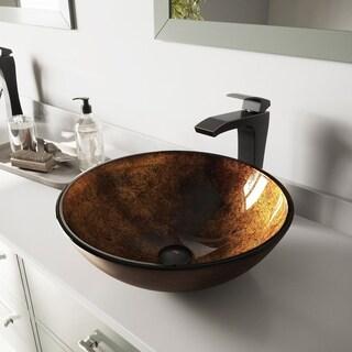 VIGO Russet Glass Vessel Sink and Blackstonian Faucet Set in Antique Rubbed Bronze Finish