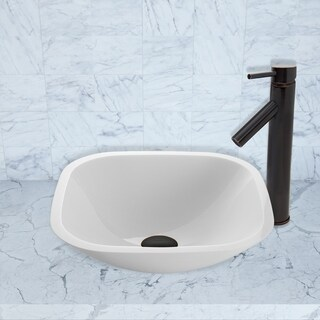 VIGO Square Shaped White Phoenix Stone Vessel Sink and Dior Faucet Set in Antique Rubbed Bronze Finish