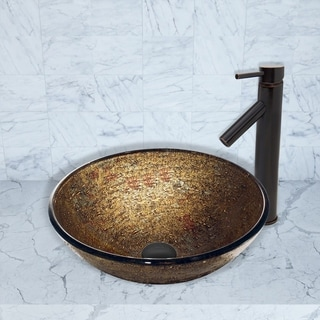 VIGO Textured Copper Glass Vessel Sink and Dior Faucet Set in Antique Rubbed Bronze Finish