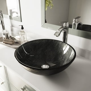 VIGO Gray Onyx Glass Vessel Sink and Linus Faucet set in a Chrome Finish