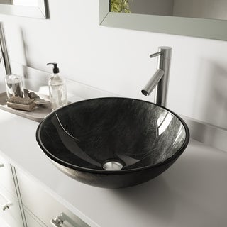 VIGO Gray Onyx Glass Vessel Sink and Dior Faucet Set in Brushed Nickel Finish