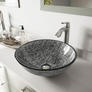 VIGO Titanium Glass Vessel Sink and Linus Faucet Set in Brushed Nickel Finish