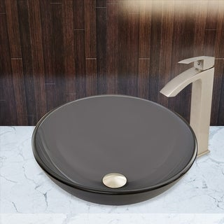 VIGO Sheer Black Frost Glass Vessel Sink and Duris Faucet Set in Brushed Nickel Finish