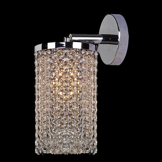 Contemporary 1 Light Chrome Finish Crystal String Round Shade Wall Sconce Light