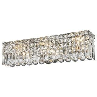 Contemporary 6 Light Chrome Finish Crystal Strand Wall Vanity Light