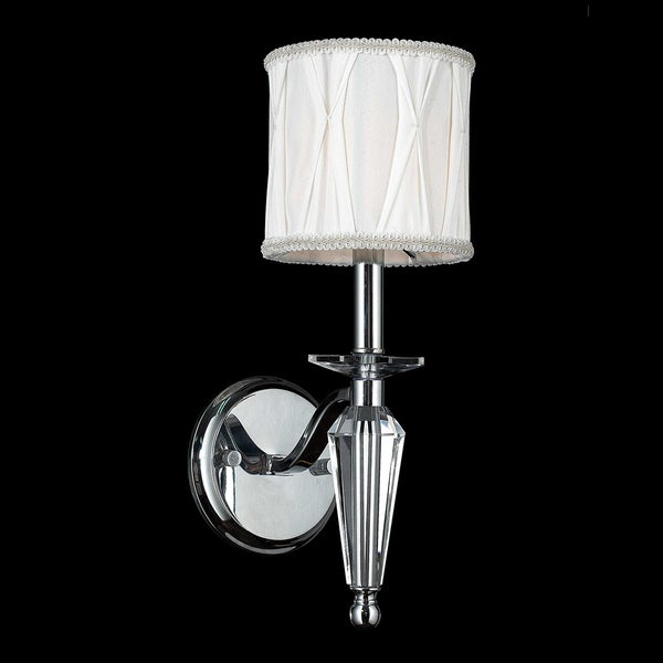 Chrome Wall Sconces With Shade : Elegant 1 Light Arm Chrome Finish Tapered Crystal Stem Wall Sconce Light with White Fabric Shade