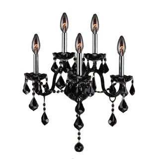 Provence Venetian Style 5-light Black Crystal Candle Wall Sconce Light Two 2 Tier