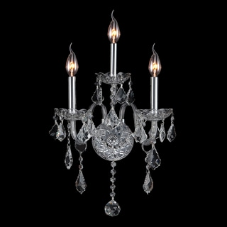 Provence Venetian Style 3-light Clear Crystal Candle Wall Sconce Light