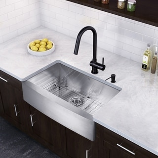 VIGO 36-inch Farmhouse Stainless Steel 16 Gauge Single Bowl Kitchen Sink and Matte Black Pull-Down Kitchen Faucet