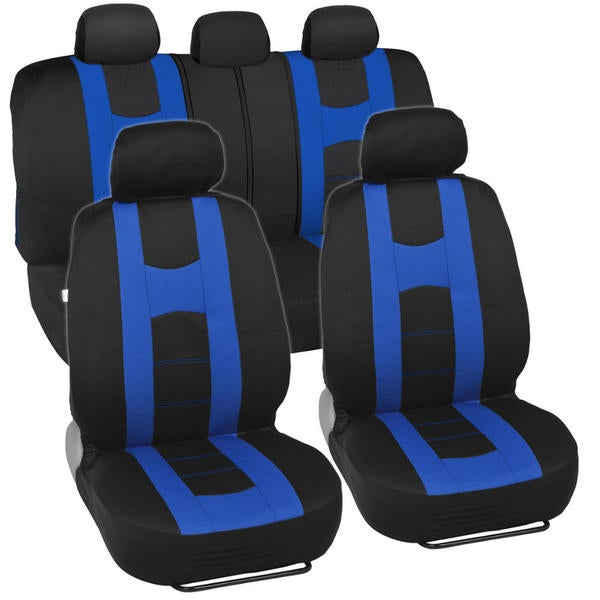 Sporty Racing Style Black and Blue Seat Covers