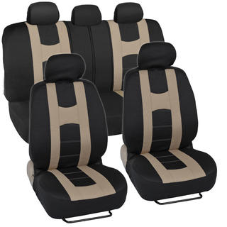 Sporty Racing Style Black and Beige Seat Covers