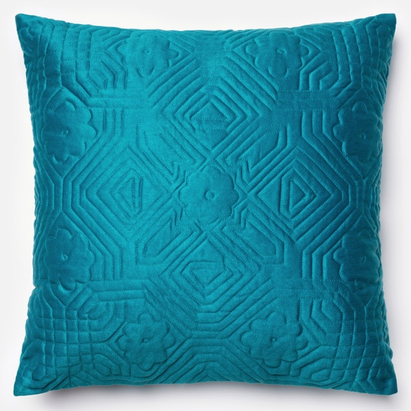 Deliah Teal Quilted Down Feather or Polyester Filled 22-inch Throw Pillow or Pillow Cover ...