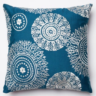 Neva Navy/Ivory Embroidered Down Feather or Polyester Filled 18-inch Throw Pillow or Pillow Cover