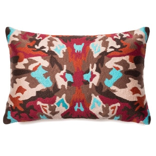 Phoenix Multi Embroidered Down Feather or Polyester Filled 13x21 Throw Pillow or Pillow Cover