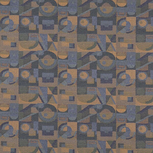 C569 Dk Blue Gold Green Abstract Geometric Durable Upholstery Fabric by the Yard