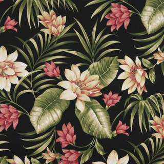 C401 Black Pink and Green Floral Outdoor Upholstery Fabric by the Yard