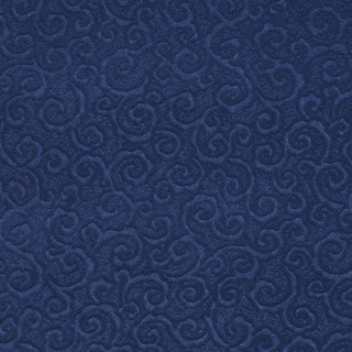 C339 Dark Blue Swirl Scroll Microfiber Upholstery Fabric by the Yard