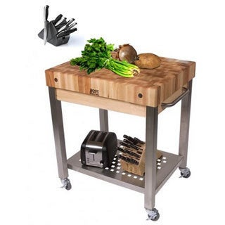 John Boos 30x24 Cucina Technica Cart, Undershelf, 4 in Rock Maple Top BONUS J A Henckels 13 Piece Knife Set