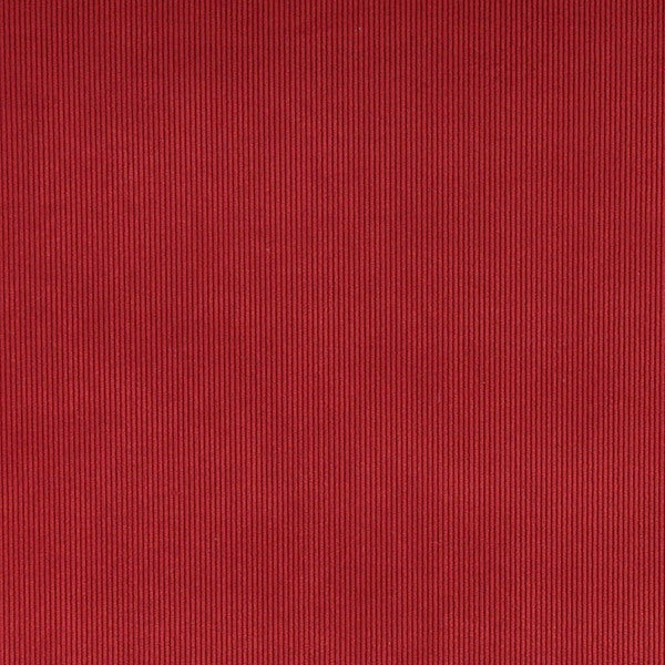 C181 Ruby Red Thin Solid Corduroy Striped Upholstery Velvet Fabric