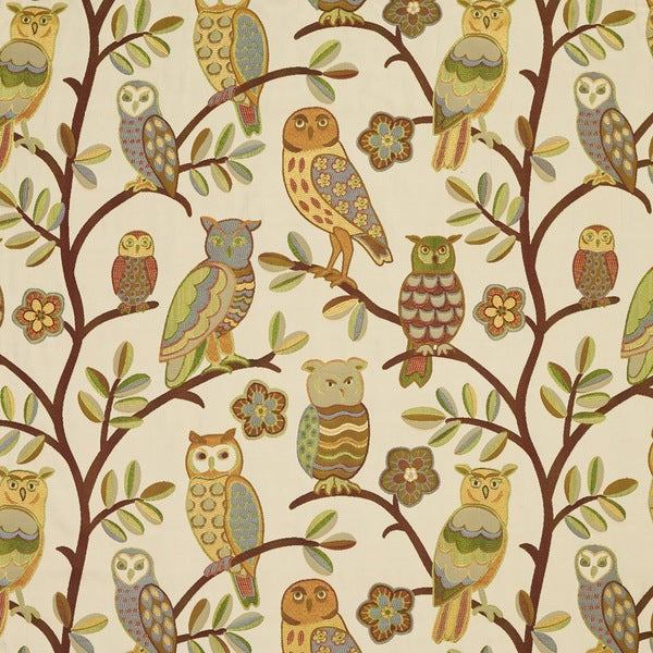 Gold Copper and Green Owls and Branches Designer Upholstery Fabric (By The Yard)