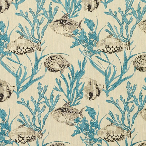 Teal and Grey Fish and Coral Reef Woven Novelty Upholstery Fabric (By The Yard)