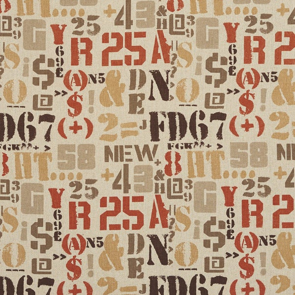 J9400H Various Letter Numbers and Symbols Novelty Upholstery Fabric (By The Yard)