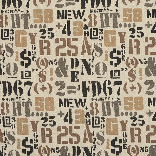 Taupe and Black Letters Numbers and Symbols Woven Upholstery Fabric (By The Yard)