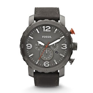 Fossil Men's JR1419 Nate Chronograph Leather Grey Watch