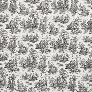 Black and White Toile Pastoral Cotton Printed Upholstery Fabric (By The Yard)