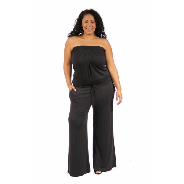 24/7 Comfort Apparel Women's Plus Size Two Pocket Sleeveless Jumpsuit