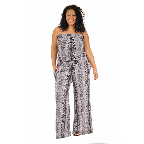 24/7 Comfort Apparel Women's Plus Size Strapless Snakeskin Jumpsuit