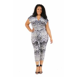 24/7 Comfort Apparel Women's Plus Size Gray Scale Jumpsuit