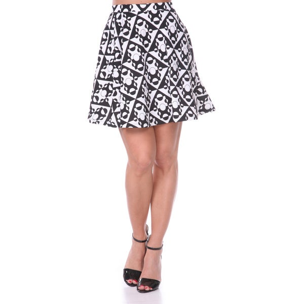 White Mark Women's Solid Color Flared Mini Skirt (Black/ White)