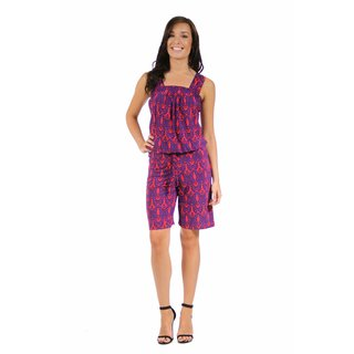 24/7 Comfort Apparel Women's Dynamic Blue and Red Print Jumpsuit