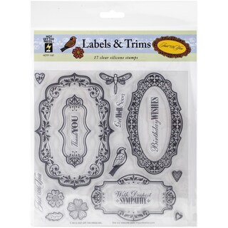 Hot Off The Press Acrylic Stamps 8inX8in Sheet Labels & Trim