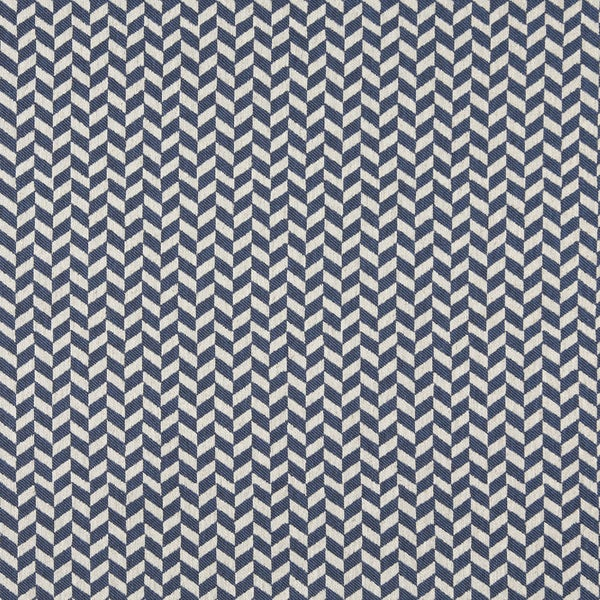 A0004E Blue Off White Herringbone Check Designer Upholstery Fabric (By The Yard)