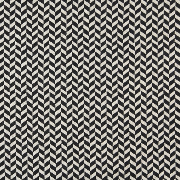 A0004G Midnight Off White Herringbone Check Upholstery Fabric (By The Yard)