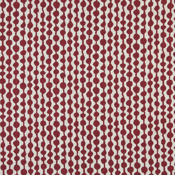 A0010A Red Off White Circle Striped Upholstery Fabric (By The Yard)