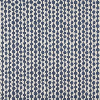 A0010E Blue Off White Circle Striped Upholstery Fabric (By The Yard)