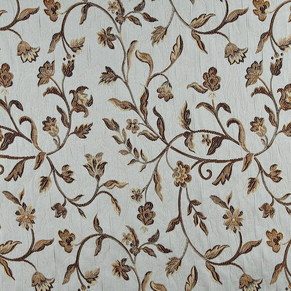 A0011A Blue Gold Brown Ivory Floral Brocade Upholstery Drape Fabric (By The Yard)